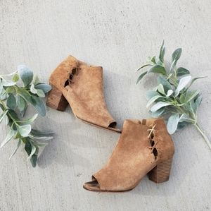 Lucky Brand Brown Suede Leather Lace Up Booties